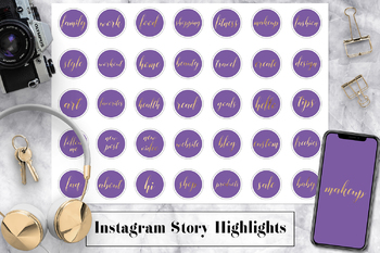 Violet & Gold Instagram Story Highlight Icons, Gold Instagram Story Highlights