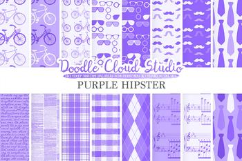 Violet Hipster digital paper, Vintage Retro patterns, Father's day