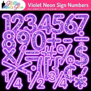 Violet Glitter Neon Sign Numbers Clip Art {Glitter Meets Glue}