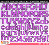 Violet Purple Letters and Numbers Clip Art