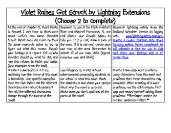 Violet Raines Got Struck by Lightning Literature Circle Unit