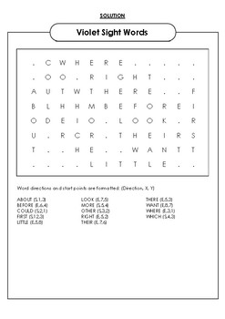 Violet Sight Words Word Search