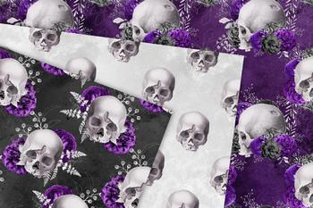 Violet Skull Digital Paper