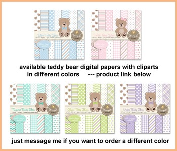 SET: Violet Teddy Bear Digital papers, Teddy Bear clipart