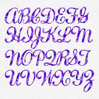 Violet Watercolor Alphabet