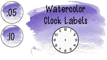 Violet Watercolor Clock Labels