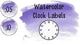 Violet Watercolor Clock Labels
