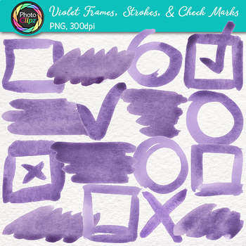 Violet Watercolor Frames, Strokes, & Check Marks Clip Art {Page Elements}