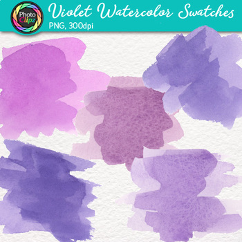Violet Watercolor Swatches Clip Art {Hand-Painted Textures for Backgrounds}