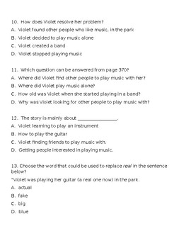 Violet's Music EDITABLE SOL Aligned Reading Comprehension and Vocabulary Test