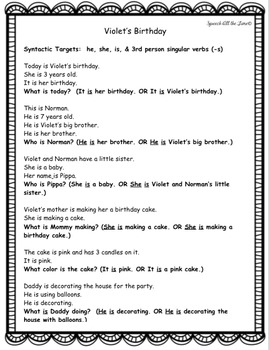 Violet's Birthday: A Violet & Norman Language Story