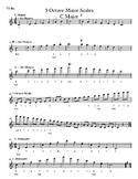 Violin - 3 Octave Major Scales - 6 sharps and flats - Sheet Music
