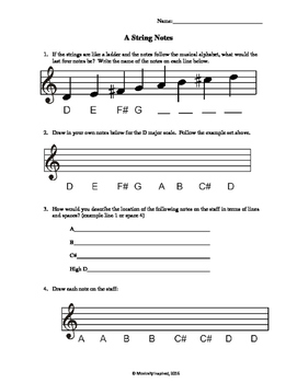 Violin A String Notes Worksheet