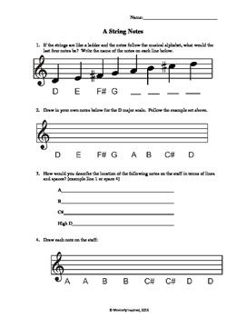 Violin A String Notes Worksheet