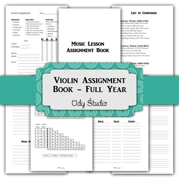 Violin Lesson Assignment Book- 5 1/2 x 8 1/2