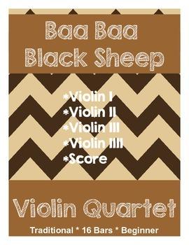 Violin Quartet - Baa Baa Black Sheep - 4 Parts & Score