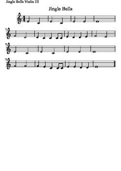 Violin Quartet - Jingle Bells - 4 Parts & Score