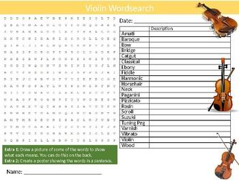 Violin Wordsearch Sheet Starter Activity Keywords Music Instruments
