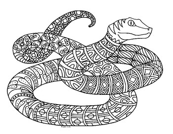 Viper Snake Zentangle Coloring Page By Pamela Kennedy Tpt