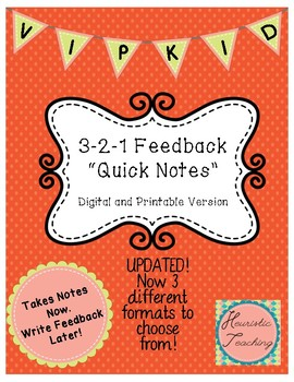 Vipkid 3-2-1 Feedback Quick Notes