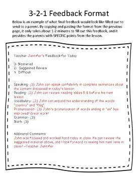 Vipkid 3-2-1 Feedback Quick Notes