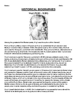 Virgil  Biography Article and (3) Assignments