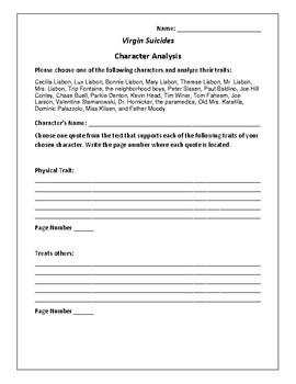 Virgin Suicides Character Analysis Activity - Jeffrey Eugenides