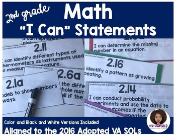 Virginia 2nd Grade Mathematics I Can Statements