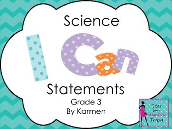 Virginia 3rd Grade I can Statements for Science