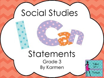 Virginia 3rd Grade I can Statements for Social Studies