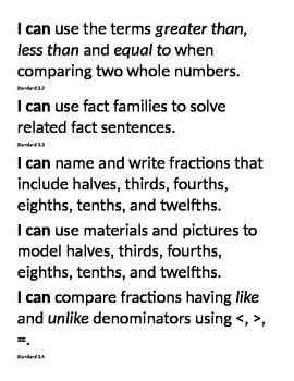 "Virginia 3rd Grade Math ""I Can"" Statements"