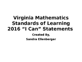 "Virginia 4th Grade Math ""I Can"" Statements-2016"