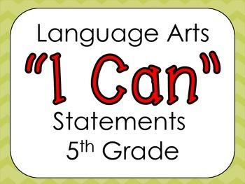 Virginia 5th Grade Language Arts I Can Statements
