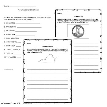 Virginia Activity Packet