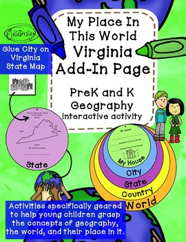 Virginia Add-In Page for My Place In This World PreK or K Geography Activity