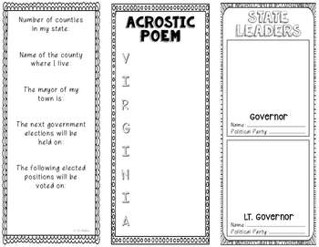 Virginia - State Research Project - Interactive Notebook - Mini Book