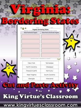 Virginia: Bordering States Cut and Paste Activity - North Carolina, Tennessee