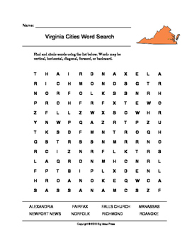 Virginia Cities Word Search (Grades 3-5)