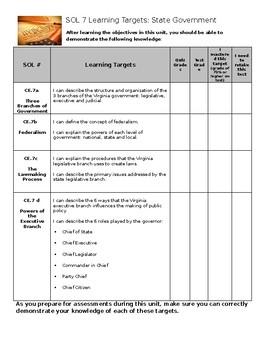 Virginia Civics and Economics SOL 7 Learning Target Sheet
