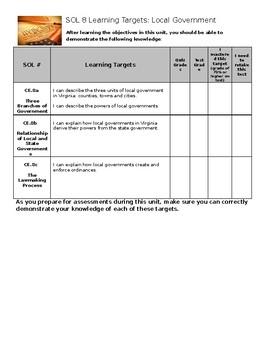 Virginia Civics and Economics SOL 8 Learning Target Sheet
