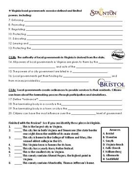 Virginia Civics SOL 8 Review Handout