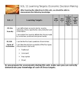 Virginia Civics and Economics SOL 11 Learning Target Sheet