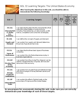 Virginia Civics and Economics SOL 12 Learning Target Sheet