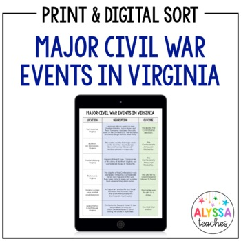 Virginia Civil War Battles Sorting Cards (VS.7b)