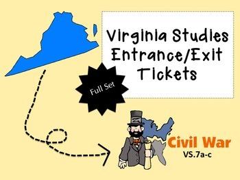 Virginia Civil War Entrance/Exit Tickets--FULL SET