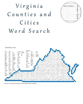 Virginia Counties and Cities Word Search
