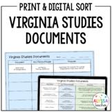 Virginia Documents Sorting Activity | Print and Digital