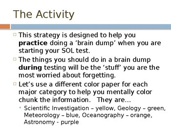 Virginia Earth Science SOL's (2010) Brain Dump Review