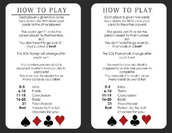 Virginia English  Writing SOL Blackjack Game Review: PRINT & GO! EOC/8th