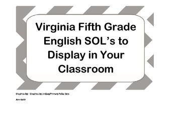 Virginia Fifth Grade English SOL's for Classroom Display